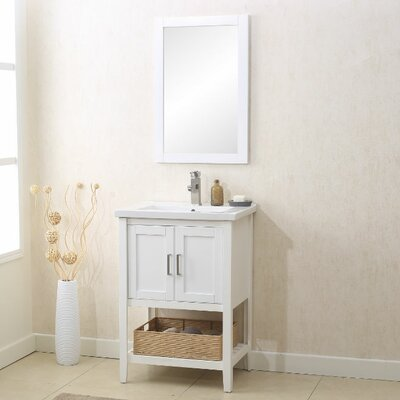 Annabel 24 Single Bathroom Vanity Set with Mirror Finish: White