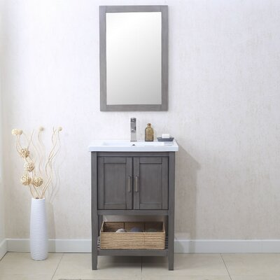 Annabel 24 Single Vanity Set with Mirror Finish: Silver Gray