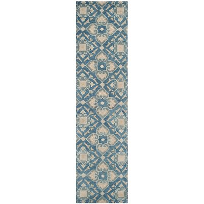 Leonia Blue/Grey Area Rug Rug Size: Runner 23 x 9
