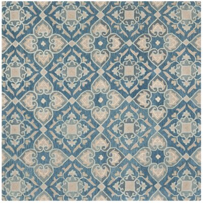 Leonia Blue/Grey Area Rug Rug Size: Square 7