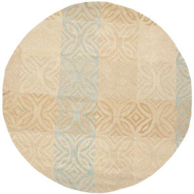 Leonia Beige Area Rug Rug Size: Round 7