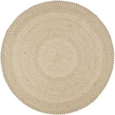 Lissie Hand-Woven Cotton Beige/Brown Area Rug Rug Size: Round 6