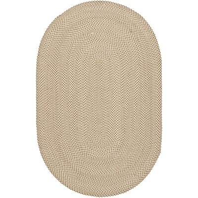 Lissie Hand-Woven Cotton Beige/Brown Area Rug Rug Size: Oval 3 x 5