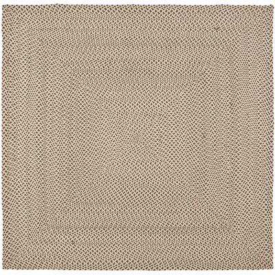 Lissie Hand-Woven Cotton Beige/Brown Area Rug Rug Size: Square 6