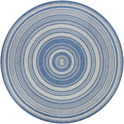 Anguila Stripe Blue/Gray Indoor/Outdoor Area Rug Rug Size: Round 76