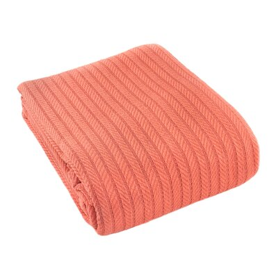 Suffren All Seasons Cotton Blanket Size: King, Color: Coral