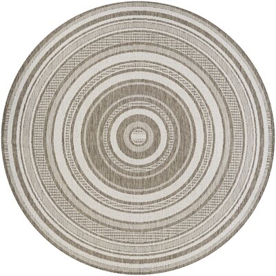 Anguila Stripe Gray/Beige Indoor/Outdoor Area Rug Rug Size: Round 76