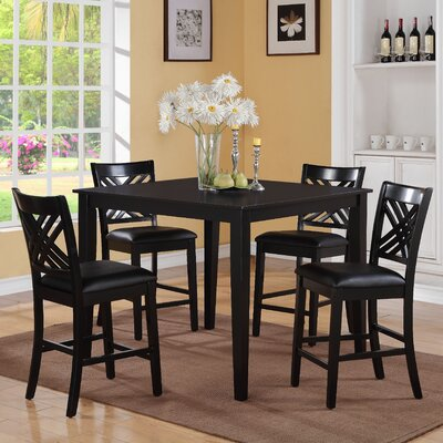 Iva 5 Piece Dining Set Finish: Black