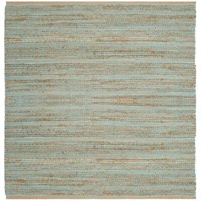 Marshville Hand-Woven Aqua/Beige Area Rug Rug Size: Square 6