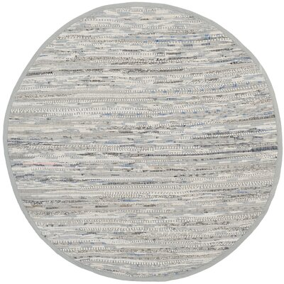 Havelock Striped Contemporary Hand-Woven Gray Area Rug Rug Size: Round 4