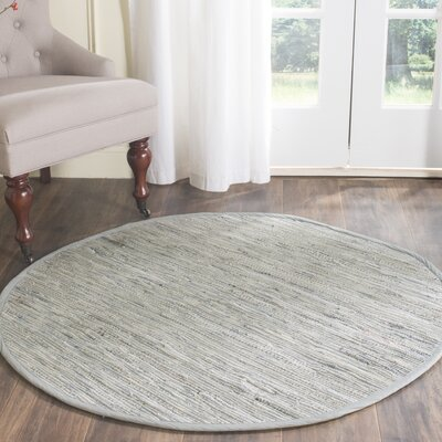 Havelock Striped Contemporary Hand-Woven Gray Area Rug Rug Size: Round 8'