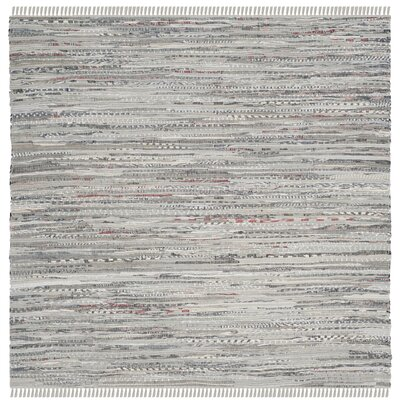 Havelock Striped Contemporary Hand-Woven Gray Area Rug Rug Size: Square 8