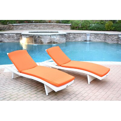 Friendship Harbor Chaise Lounge with Cushion Cushion Color: Orange, Finish: White