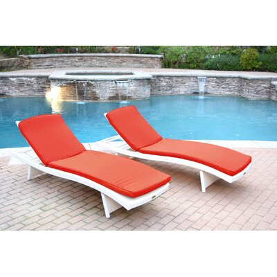 Friendship Harbor Chaise Lounge with Cushion Cushion Color: Red, Finish: White