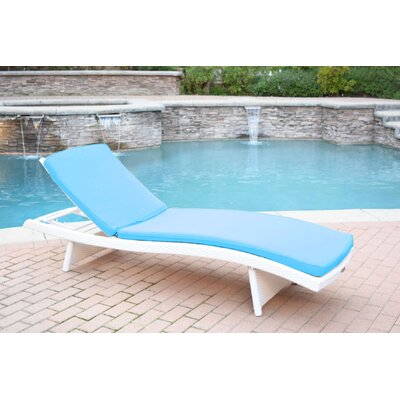 Friendship Harbor Chaise Lounge with Cushion Cushion Color: Sky Blue, Finish: White