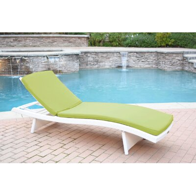 Friendship Harbor Chaise Lounge with Cushion Cushion Color: Green, Finish: White