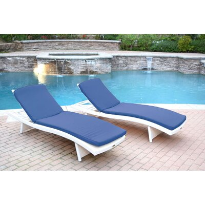 Friendship Harbor Chaise Lounge with Cushion Cushion Color: Blue, Finish: White