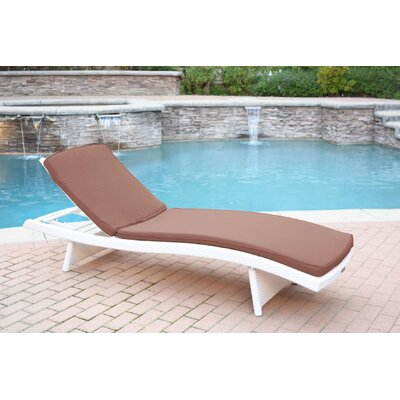 Friendship Harbor Chaise Lounge with Cushion Cushion Color: Brown, Finish: White