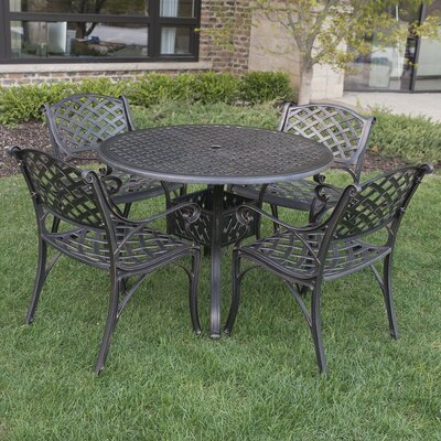 Binnett Cast Aluminum 5 Piece Dining Set