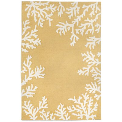 Claycomb Coral Border Yellow Indoor/Outdoor Area Rug Rug Size: 3'6