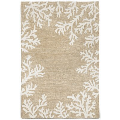 Claycomb Coral Border Neutral Indoor/Outdoor Area Rug Rug Size: Rectangle 5 x 76