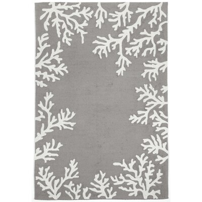 Claycomb Coral Border Silver Indoor/Outdoor Area Rug Rug Size: 76 x 96