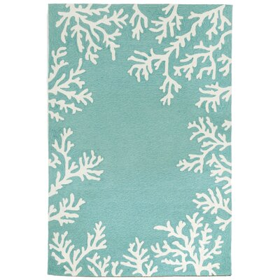 Claycomb Coral Border Hand-Tufted Aqua Indoor/Outdoor Area Rug Rug Size: Rectangle 5 x 76