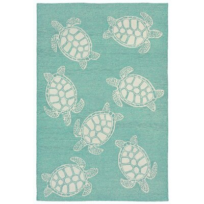 Claycomb Hand-Tufted Aqua Wool Indoor/Outdoor Area Rug Rug Size: 36 x 56