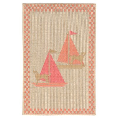 Coeur Sailing Dogs Beige Indoor/Outdoor Area Rug Rug Size: 111 x 211