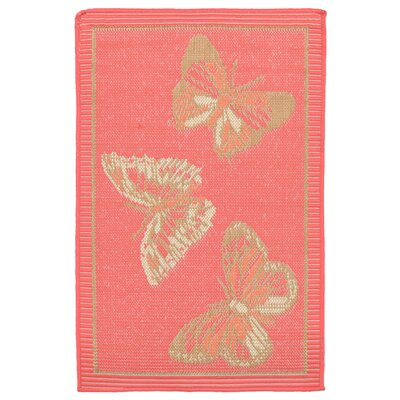 Coeur Butterfly Pink Indoor/Outdoor Area Rug Rug Size: 111 x 211