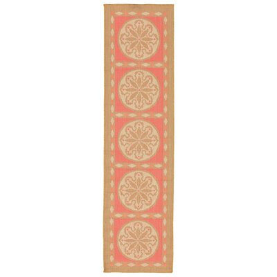 Coeur Tile Pink/Green Indoor/Outdoor Area Rug Rug Size: Runner 111 x 76