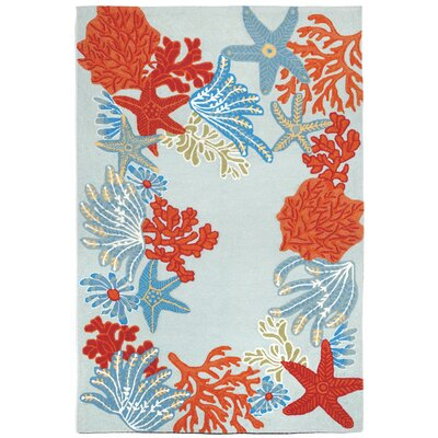 Clowers Ocean Scene Aqua Indoor/Outdoor Area Rug Rug Size: 83 x 116