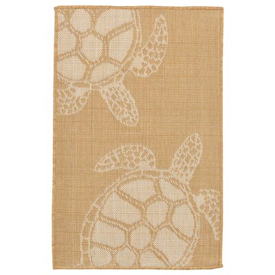 Clatterbuck Seaturtle Almond/Camel Indoor/Outdoor Area Rug Rug Size: Rectangle 111 x 211