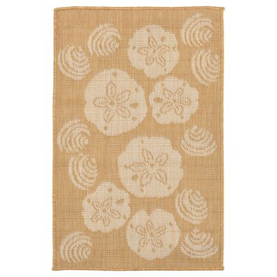 Clatterbuck Shell Toss Almond/Camel Indoor/Outdoor Area Rug Rug Size: 111 x 211