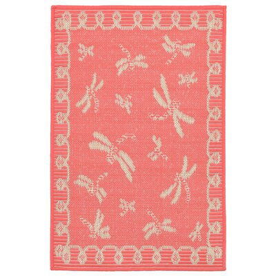 Clatterbuck Dragonfly Pink/Beige Indoor/Outdoor Area Rug Rug Size: Rectangle 111 x 211