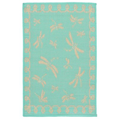 Clatterbuck Dragonfly Blue/Beige Indoor/Outdoor Area Rug Rug Size: 111 x 211