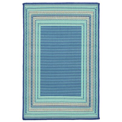 Clatterbuck Etched Blue Indoor/Outdoor Area Rug Rug Size: 111 x 211