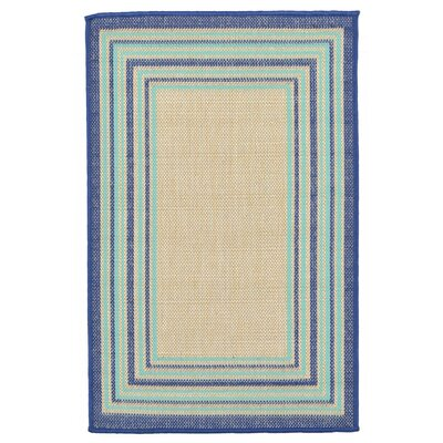 Clatterbuck Border Navy Blue/Baby Blue/Beige Indoor/Outdoor Area Rug Rug Size: Rectangle 111 x 211