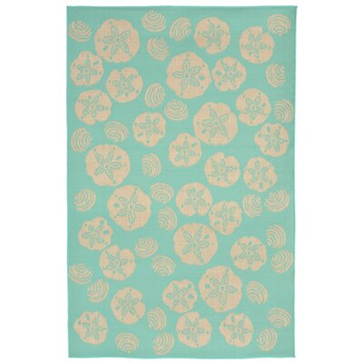 Clatterbuck Shell Toss Blue/Beige Indoor/Outdoor Area Rug Rug Size: Rectangle 410 x 76