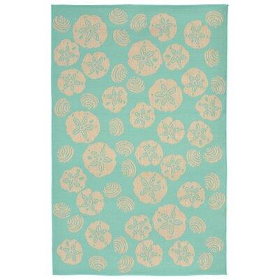 Clatterbuck Shell Toss Blue/Beige Indoor/Outdoor Area Rug Rug Size: 410 x 76