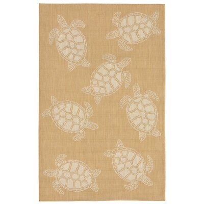 Clatterbuck Seaturtle Almond/Camel Indoor/Outdoor Area Rug Rug Size: 710 x 910