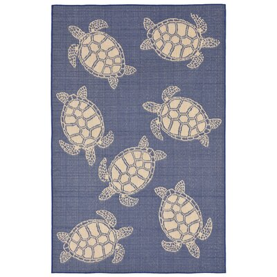 Clatterbuck Seaturtle Navy/Beige Indoor/Outdoor Area Rug Rug Size: 710 x 910