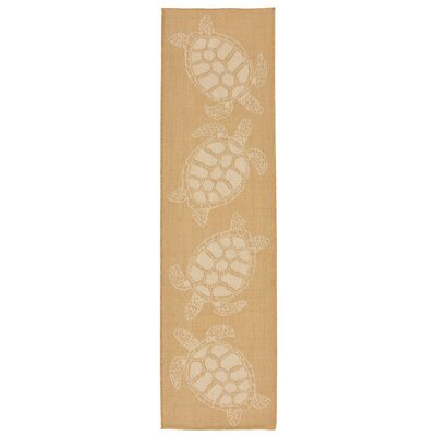Clatterbuck Seaturtle Almond/Camel Indoor/Outdoor Area Rug Rug Size: Runner 111 x 76
