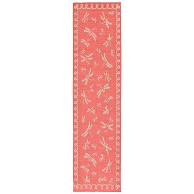 Clatterbuck Dragonfly Pink/Beige Indoor/Outdoor Area Rug Rug Size: Runner 111 x 76