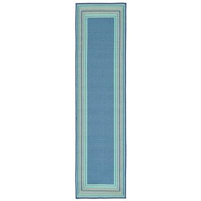 Clatterbuck Etched Blue Indoor/Outdoor Area Rug Rug Size: Runner 111 x 76