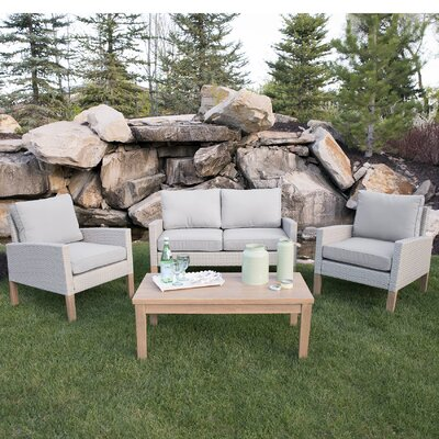 Fallston Patio 4 Piece Deep Seating Group with Cushions