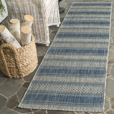 McCall Gray/Navy Indoor/Outdoor Area Rug Rug Size: Runner 23 x 8