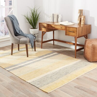 Melounta Hand-Loomed Yellow/Gray Area Rug Rug Size: 8 x 10