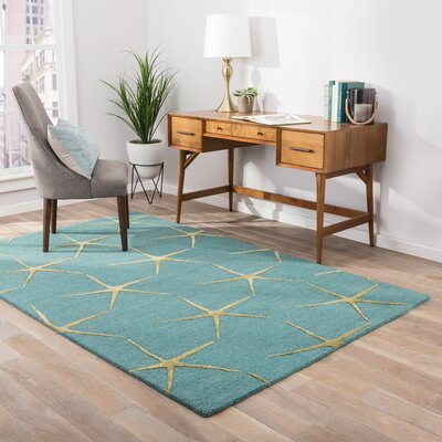 Regan Hand-Tufted Blue/Yellow Area Rug Rug Size: Rectangle 2 x 3