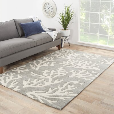 Boule Hand-Tufted Gray/Ivory Area Rug Rug Size: 9 x 12